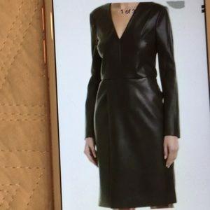 BCBGMaxazria Black Faux Leather  Dress Size XXS